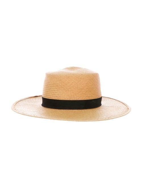Janessa Leone Straw Wide-Brim Hat Brown