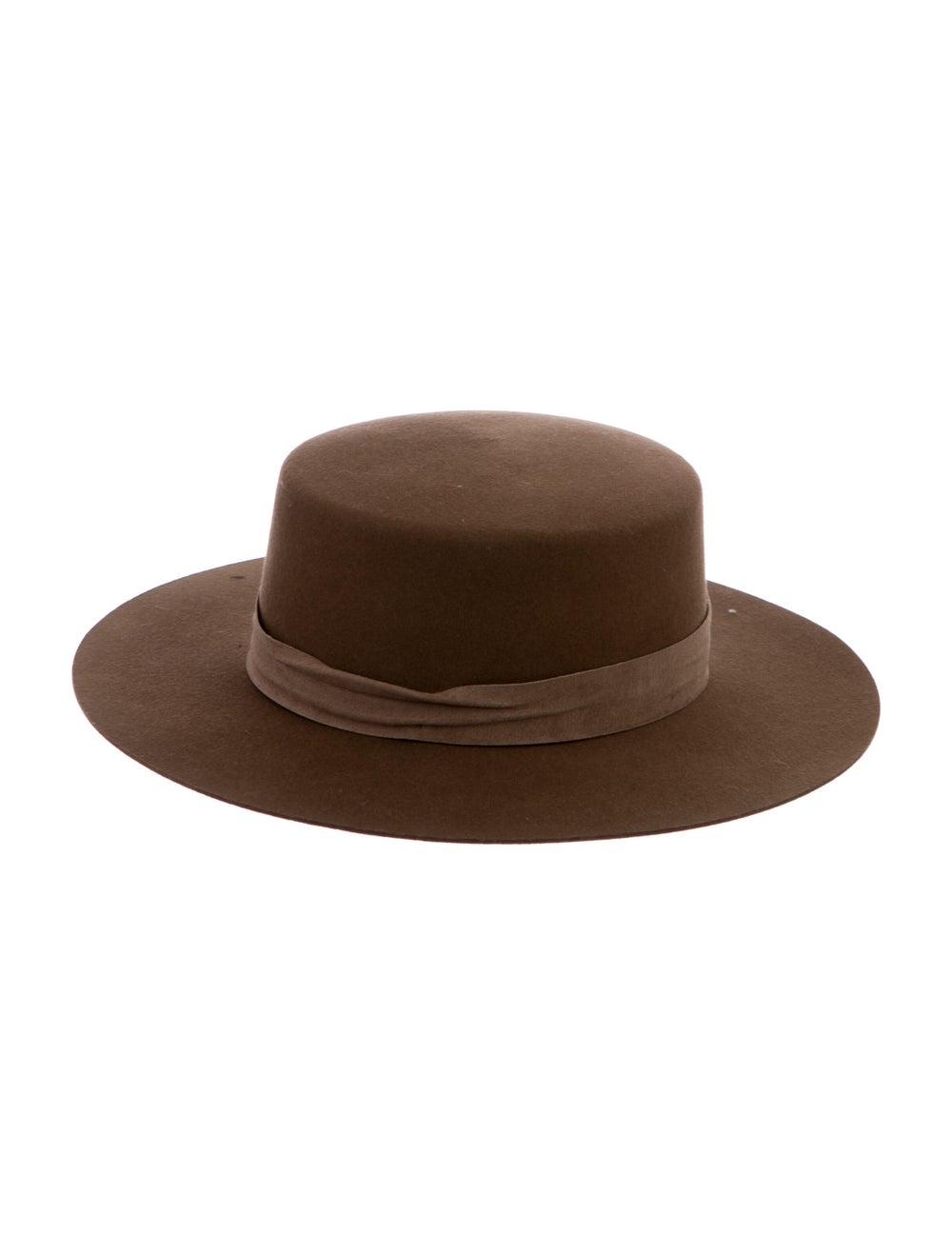 Janessa Leone Fur Felt Fedora Hat Tan - image 1
