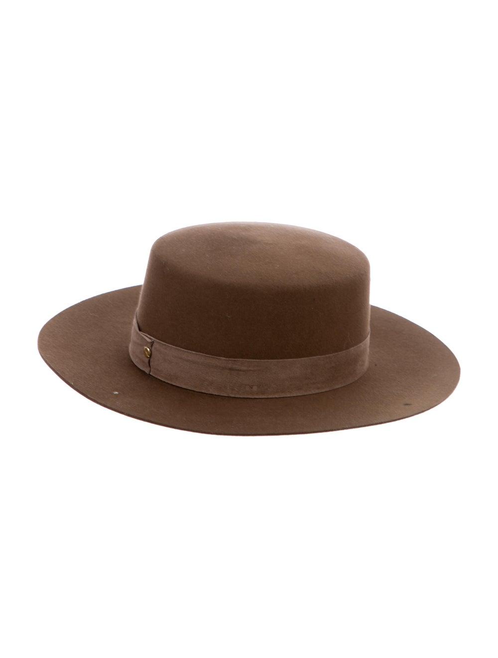 Janessa Leone Fur Felt Fedora Hat Tan - image 2