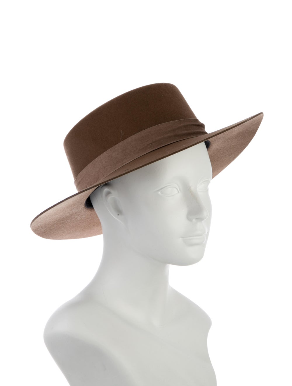 Janessa Leone Fur Felt Fedora Hat Tan - image 3