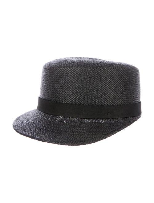 Janessa Leone Woven Straw Cap Black - image 1