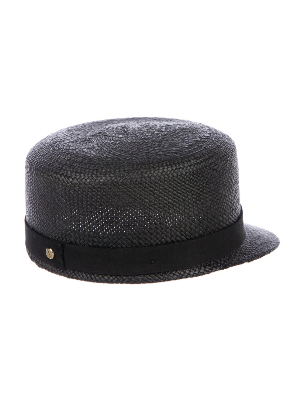 Janessa Leone Woven Straw Cap Black - image 2