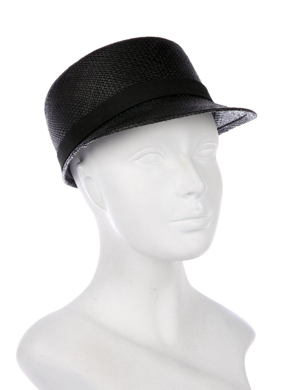 Janessa Leone Woven Straw Cap Black - image 3