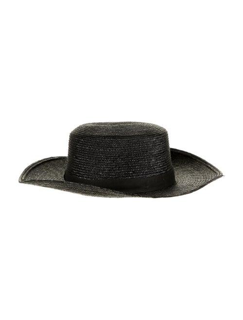 Janessa Leone Straw Sun Hat Black