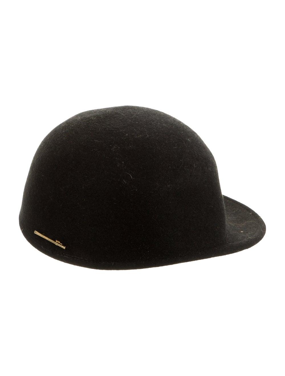 Janessa Leone Wool Jockey Hat Black - image 2