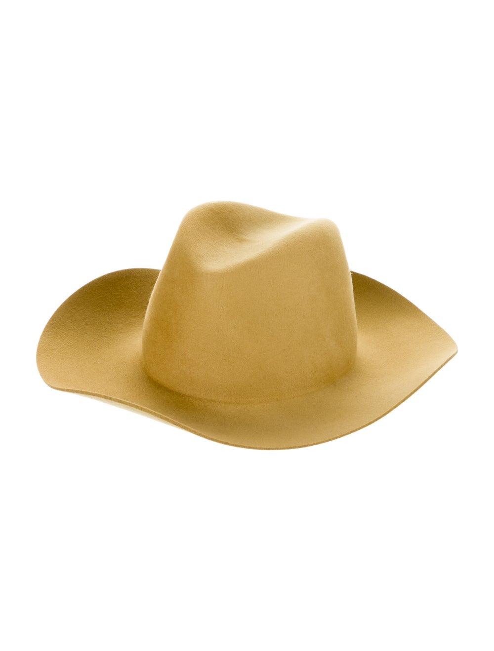 Janessa Leone Wool Fedora Hat Yellow - image 1