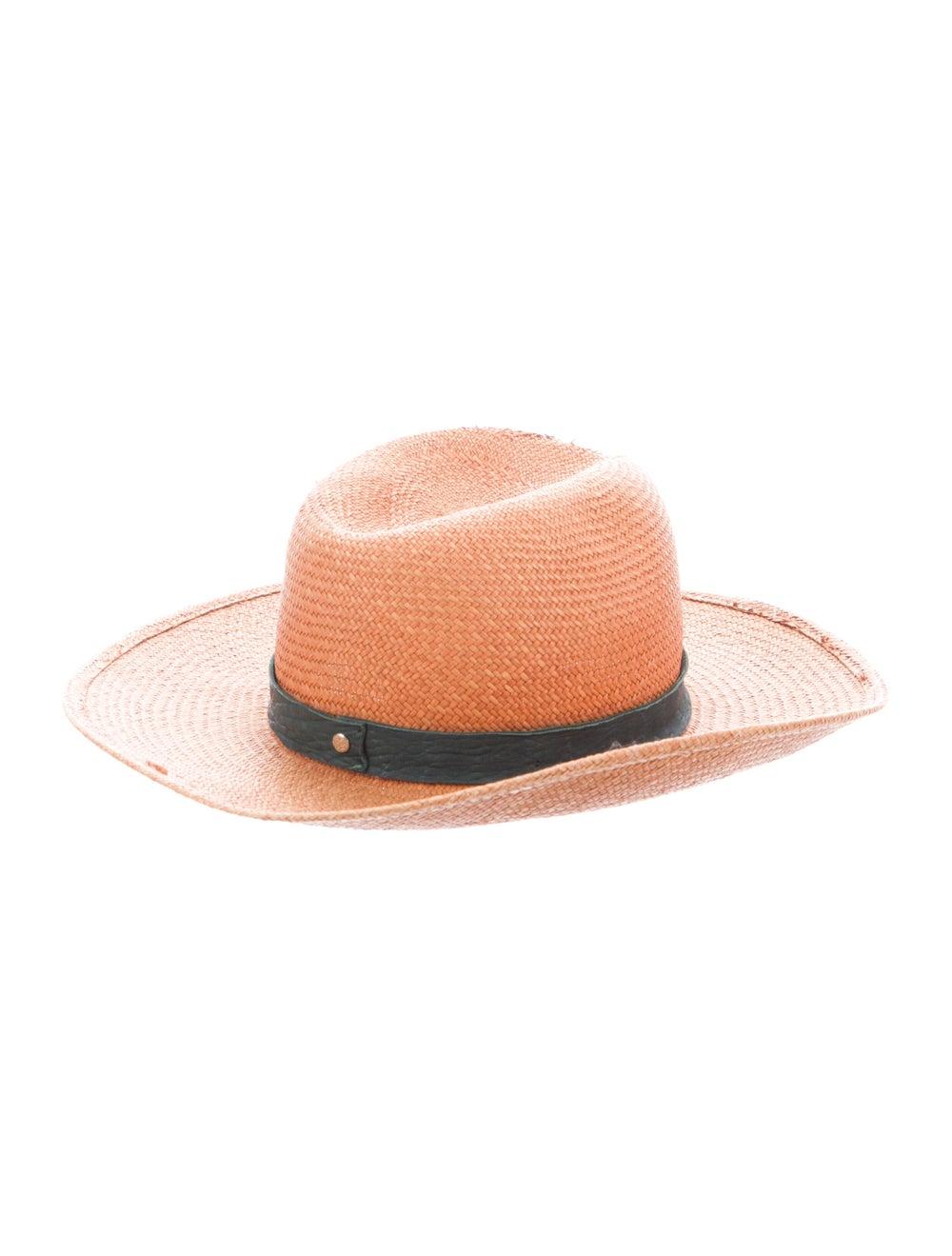 Janessa Leone Straw Wide Brim Hat Tan - image 2
