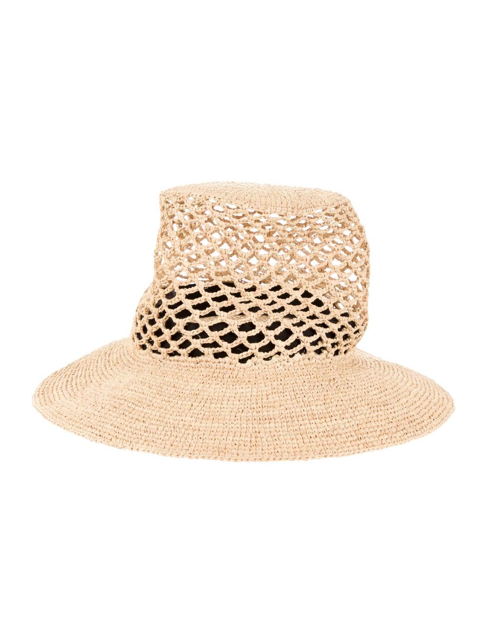 Janessa Leone Straw Wide Brimmed Hat Brown - image 1
