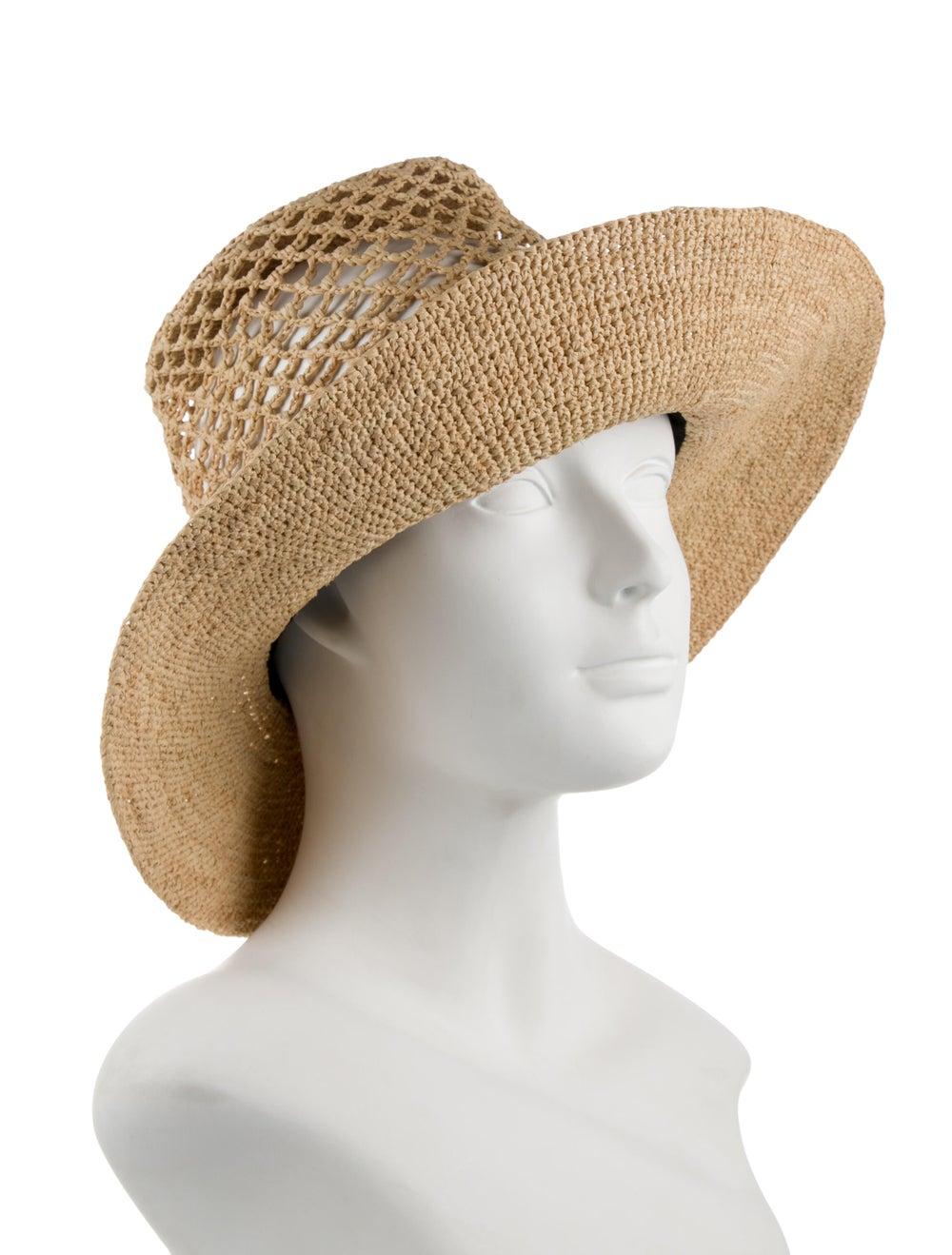 Janessa Leone Straw Wide Brimmed Hat Brown - image 3