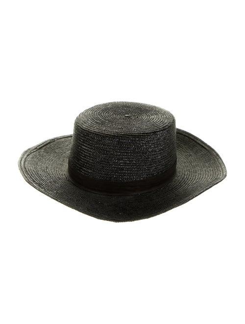 Janessa Leone Wide Brim Straw Hat Black - image 1