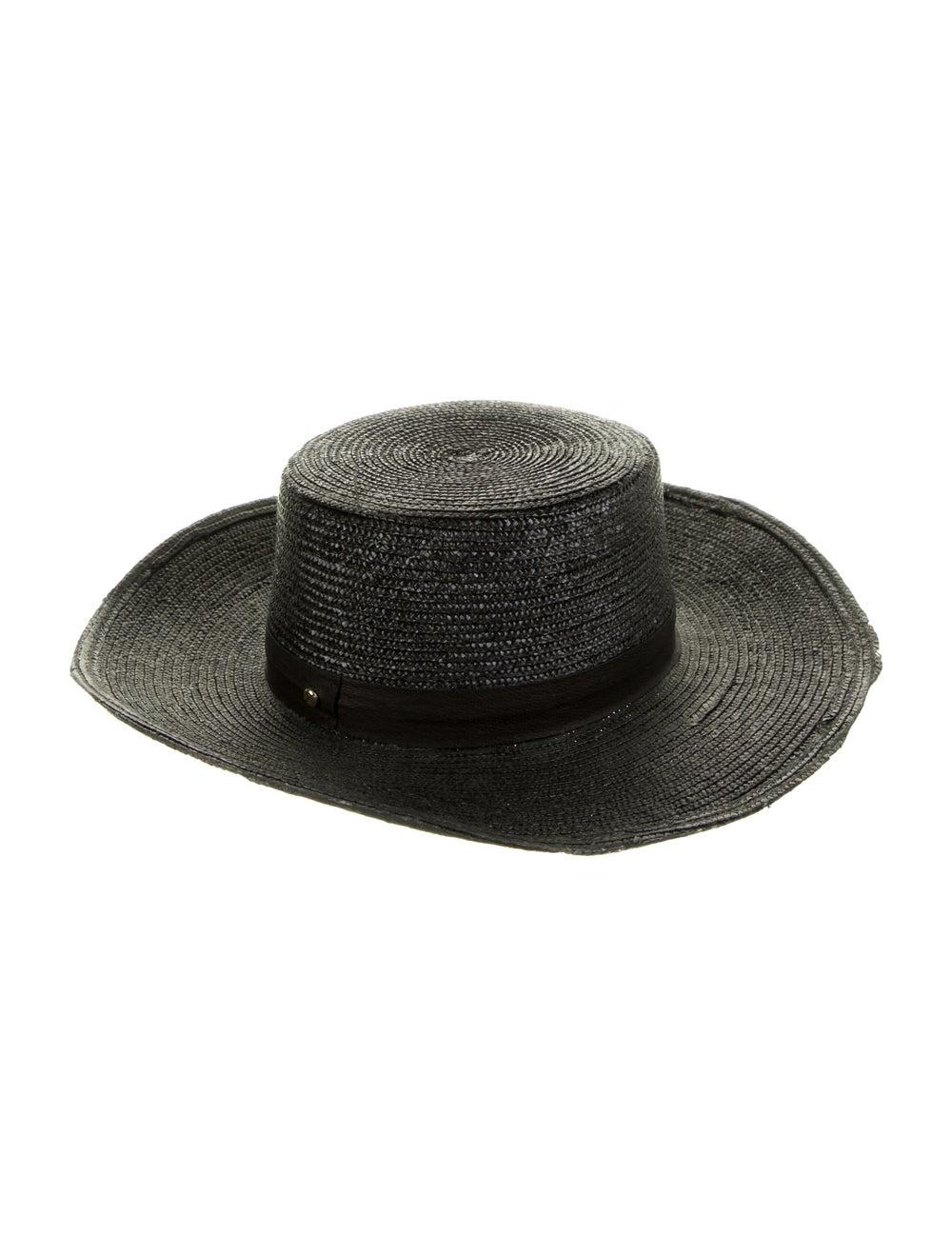 Janessa Leone Wide Brim Straw Hat Black - image 2