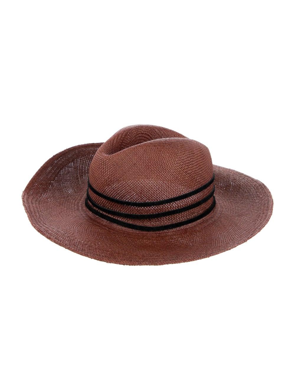 Janessa Leone Straw Fedora Hat red - image 1