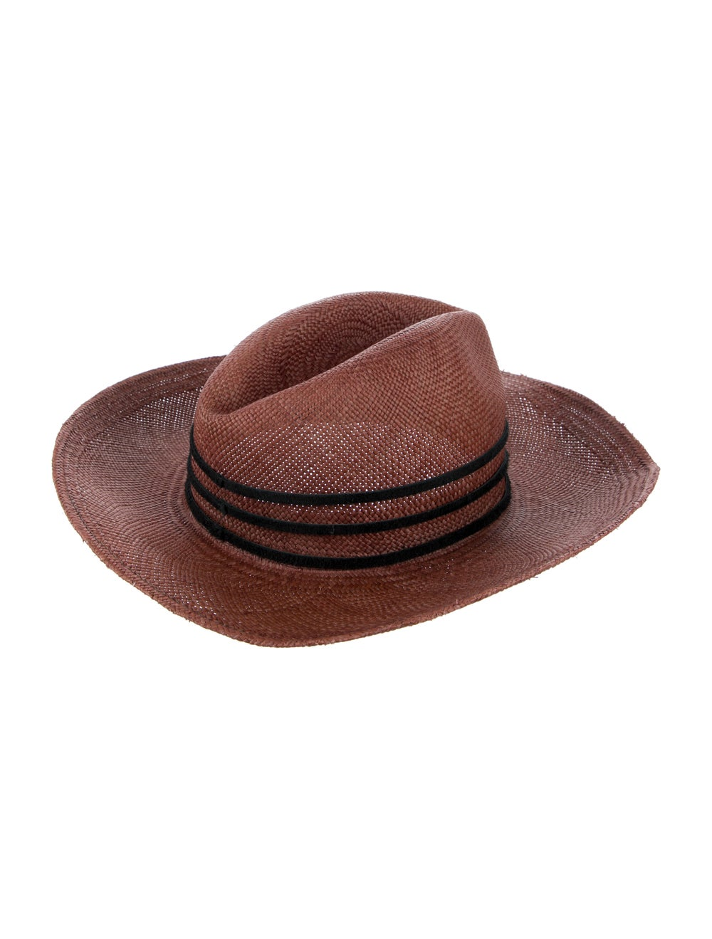 Janessa Leone Straw Fedora Hat red - image 2