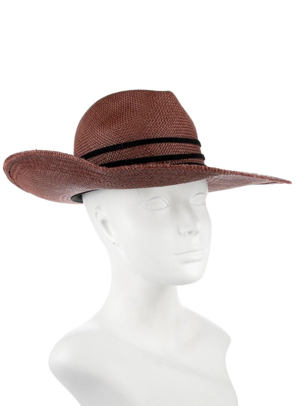 Janessa Leone Straw Fedora Hat red - image 3