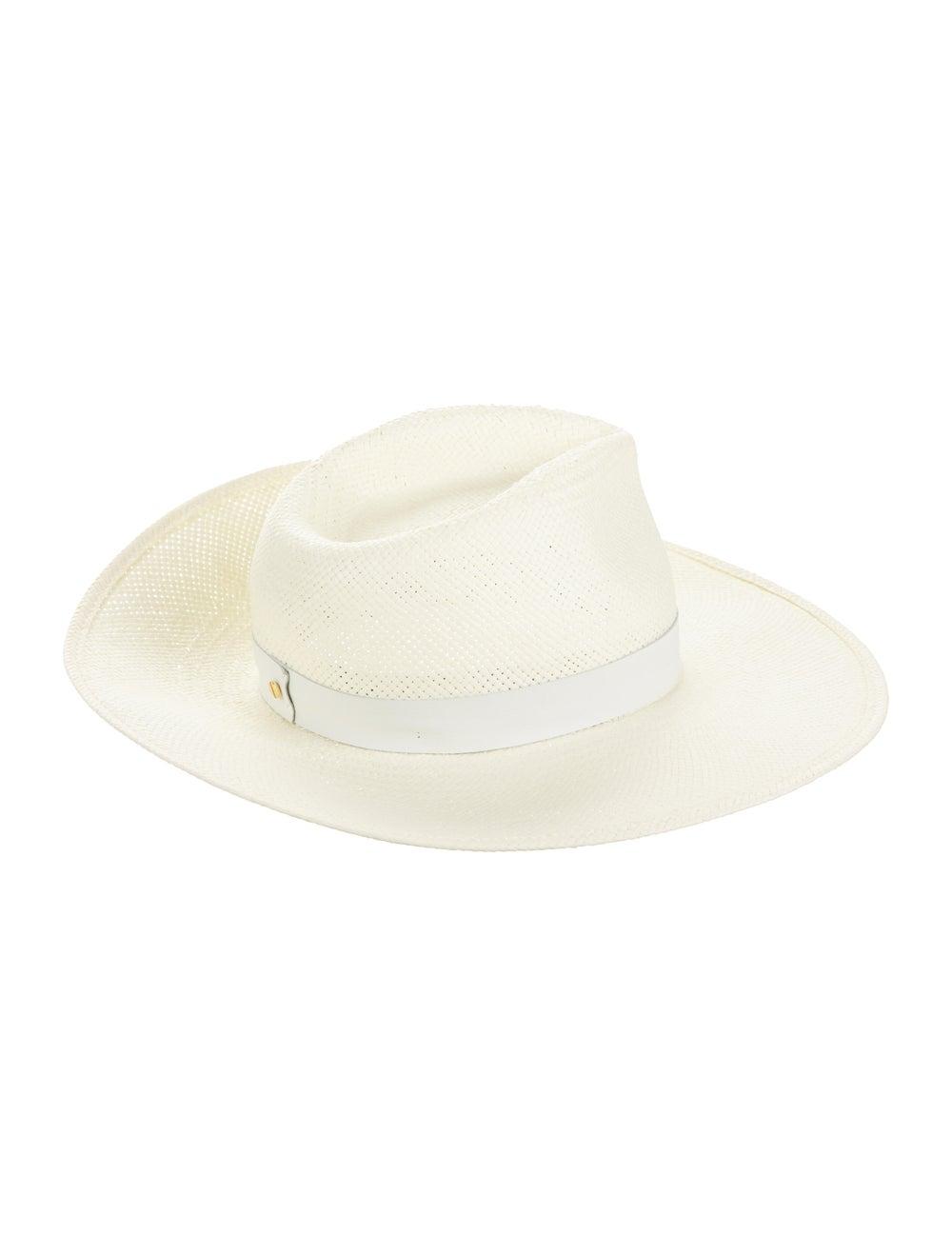 Janessa Leone Straw Wide Brim Hat White - image 2