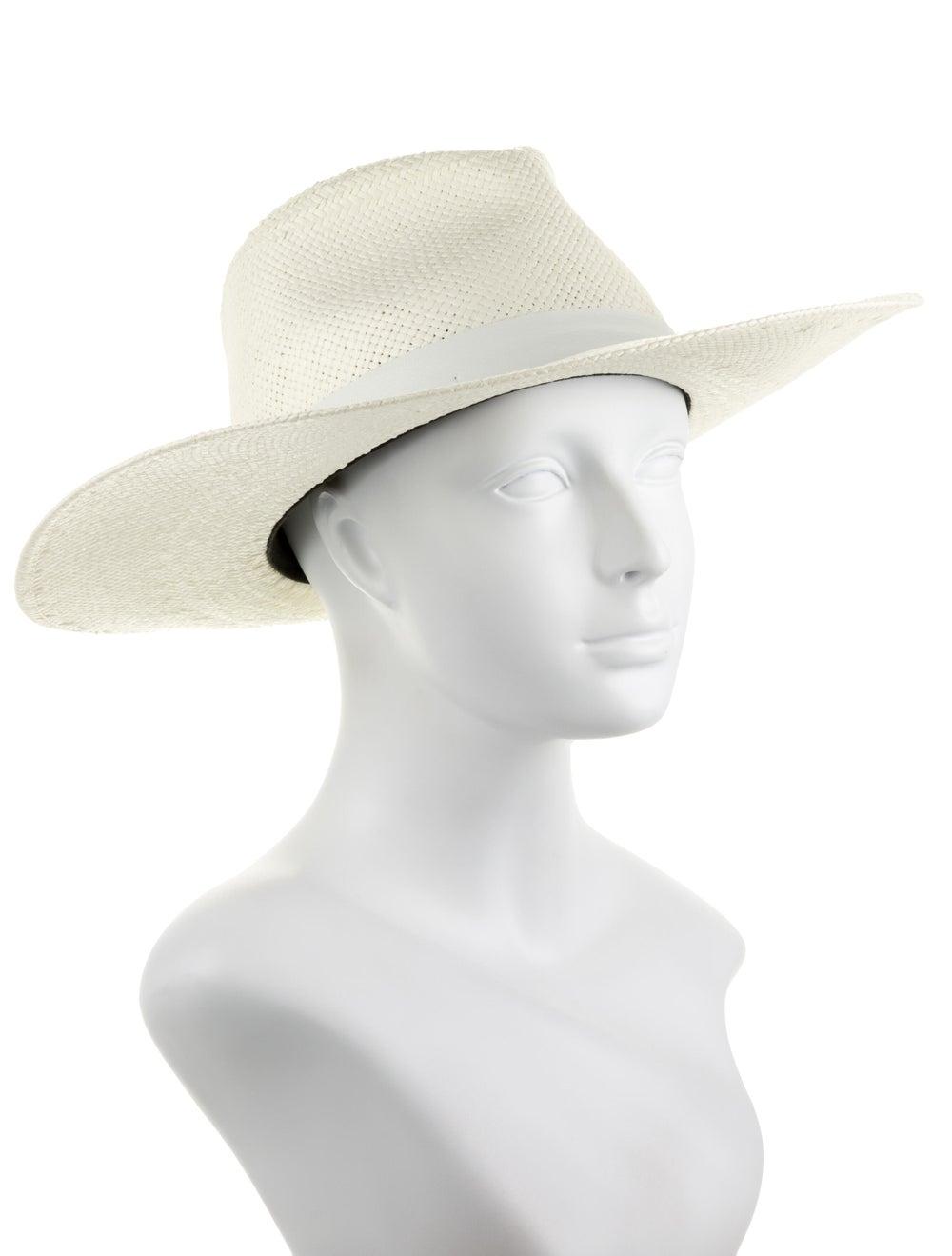 Janessa Leone Straw Wide Brim Hat White - image 3