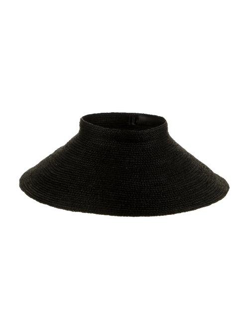 Janessa Leone Straw Wide-Brim Visor w/ Tags Black - image 1