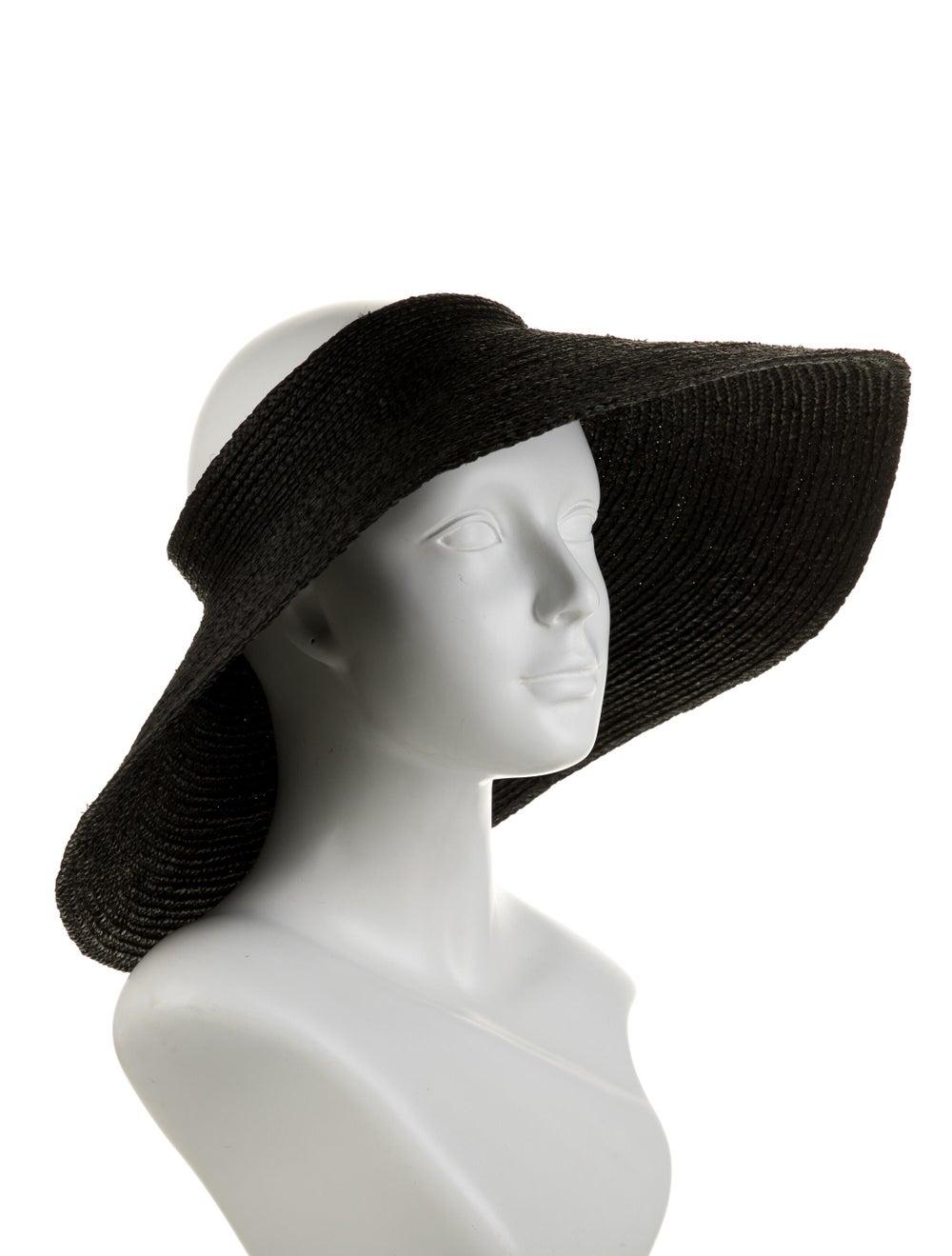 Janessa Leone Straw Wide-Brim Visor w/ Tags Black - image 3