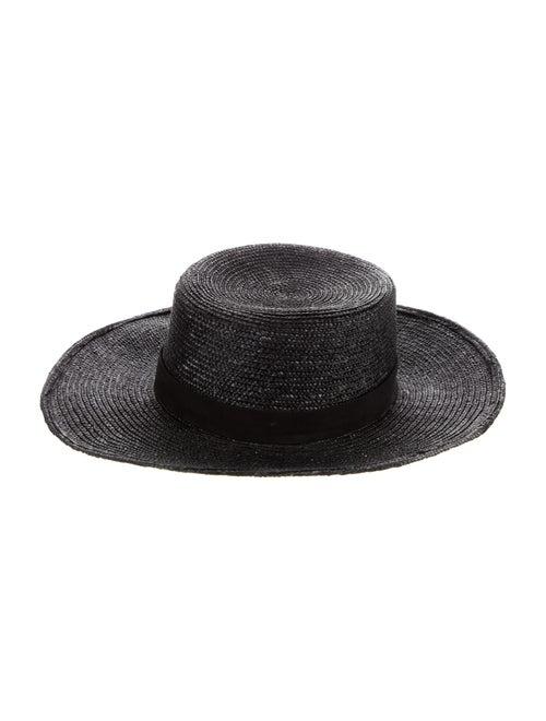 Janessa Leone Woven Straw Hat Black