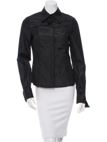 J. Mendel Pleated Button-Up Top None