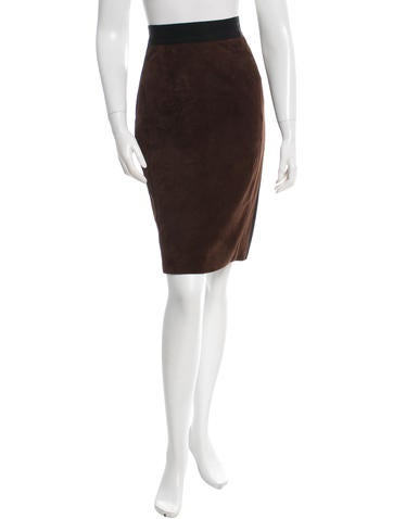 J. Mendel Suede Knee-Length Skirt None