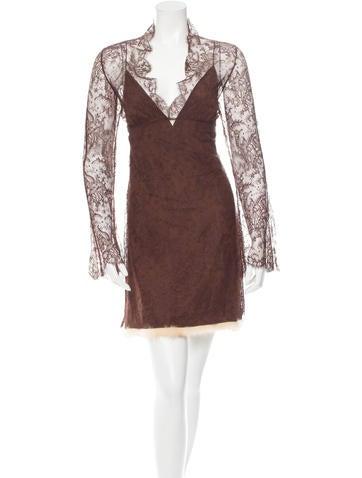 J. Mendel Lace Mock Neck Dress None