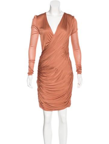 J. Mendel Draped Long Sleeve Dress None