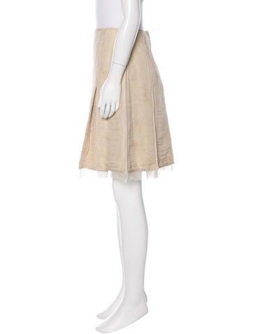 Pleated Brocade Skirt