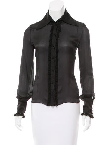 J. Mendel Lace-Trimmed Satin Top None