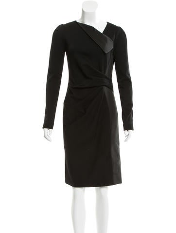 J. Mendel Ruch-Accented Wool Dress None