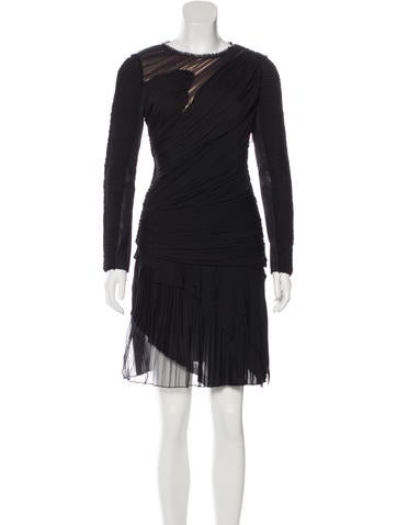 J. Mendel Gathered Long Sleeve Dress None