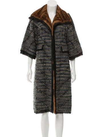 J. Mendel Long Fur-Trimmed Coat None
