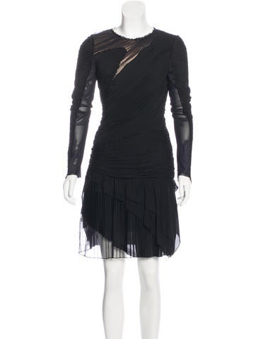J. Mendel Ruched Long Sleeve Dress None