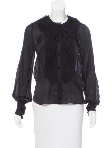 J. Mendel Silk Long Sleeve Top None