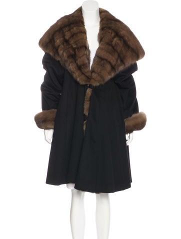 J. Mendel Sable-Trimmed Long Coat None
