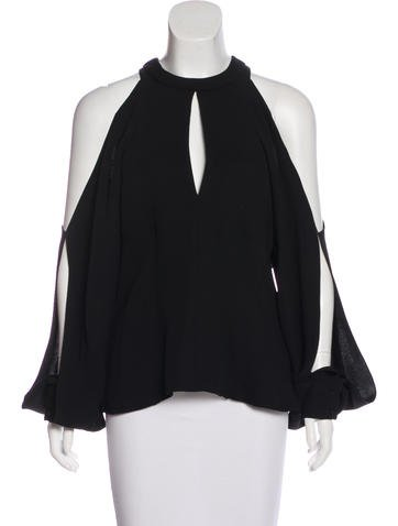 J. Mendel Cold Shoulder Long Sleeve Top None