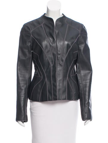 J. Mendel Long Sleeve Leather Jacket None