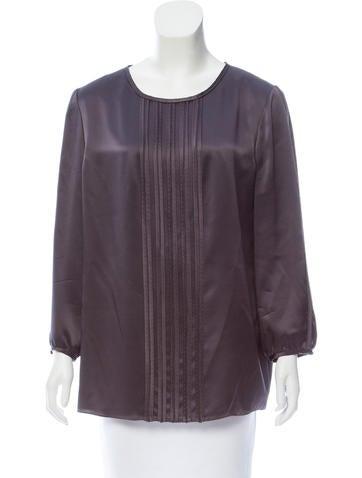 J. Mendel Long Sleeve Silk Top None