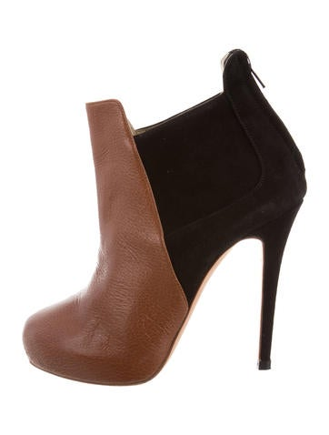 J. Mendel Leather Round-Toe Booties