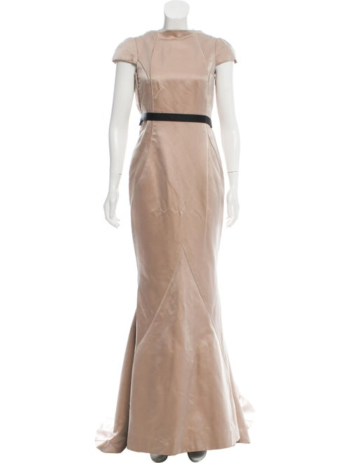 J. Mendel Silk Cap Sleeve Gown Khaki