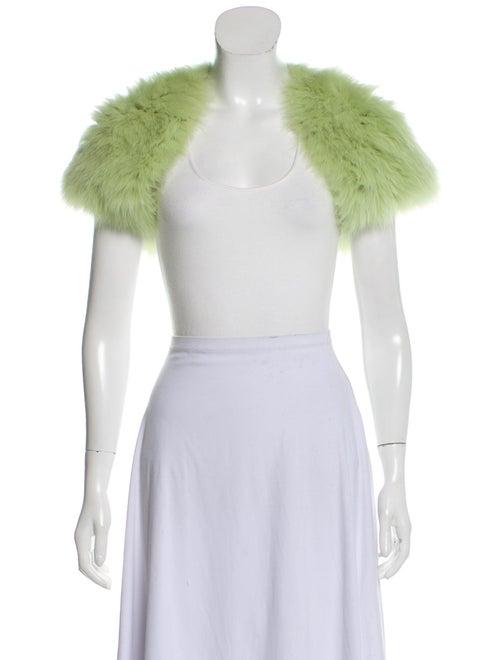 J. Mendel Cropped Fur Shrug Green