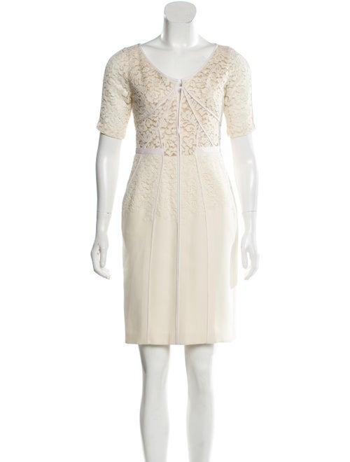 J. Mendel Lace Mini Dress beige