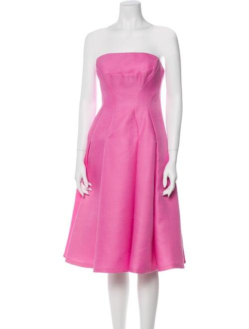 J. Mendel Strapless Flared Dress Pink