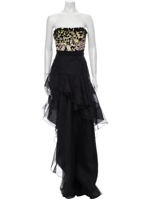 J. Mendel Strapless Long Dress Black
