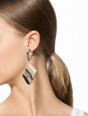 Agate and Diamond Earrings