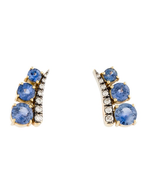 Jemma Wynne 18K Sapphire & Diamond Ear Climbers ye
