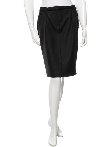 John Galliano Wool Belted Skirt None