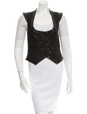 John Galliano Leather-Trimmed Wool Vest None