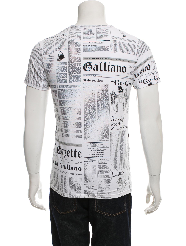 john galliano newspaper print v neck t shirt clothing