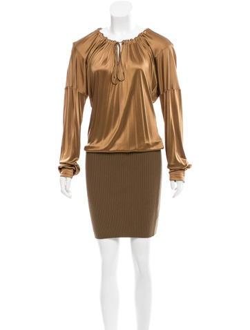 John Galliano Satin Pleated Dress None
